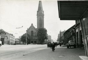 Jaunā Sv. Ģertrūdes baznīca, 1950. gadi.   Attēls no Latvijas Nacionālās biblotēkas fondiem.