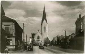 Jaunā Sv. Ģertrūdes baznīca, 1930. gadi. Attēls no Latvijas Nacionālās bibliotēkas fondiem.