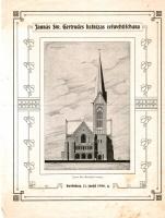 Jaunās Sv. Ģrtrūdes baznīcas iesvētīšanas dievkalpojuma lapiņa.