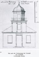 Sv. Ģertrūdes baznīcas projekts - Johana K. Broces zīmējums. Jauno baznīcu iesvētīja 1817. gadā.